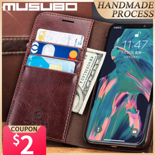 Musubo Genuine Leather Case For iPhone 11 Pro Max Case Luxury Flip 11 Pro Cover For iPhone 12 Pro 11 Funda 8 Plus 7 Wallet Coque