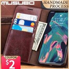 Musubo אמיתי עור מקרה עבור iPhone 11 פרו מקסימום מקרה יוקרה Flip 11 פרו כיסוי עבור iPhone 12 פרו 11 funda 8 בתוספת 7 ארנק Coque
