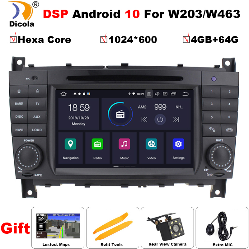 IPS PX6 Hexa Core DSP <font><b>Android</b></font> 10 Car DVD Player for <font><b>Mercedes</b></font> Benz C-Class <font><b>W203</b></font> 2004-2007 Autoradio Stereo <font><b>GPS</b></font> navigation RDS BT image