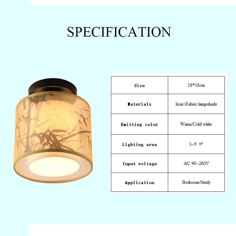 Image 5 - Классический японский светодиодный потолочный светильник винтажный Ретро подвесной светильник тканевый абажур поверхностное крепление китайский потолочный светильник-in Потолочные лампы from Лампы и освещение