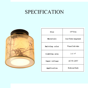 Image 5 - Classic Japanese Led Ceiling Lamp Vintage Retro Suspension Luminaire Fabric Shade Surface Mount Chinese Ceiling Light Fixtures