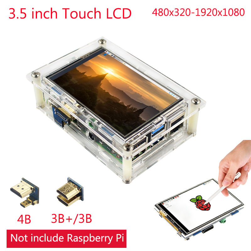 3.5 Inch Raspberry Pi 4 Touch Screen 480x320 To 1920x1080 LCD Dispaly Module | Acrylic Case Support PC/Laptop Raspberry Pi 3 B+