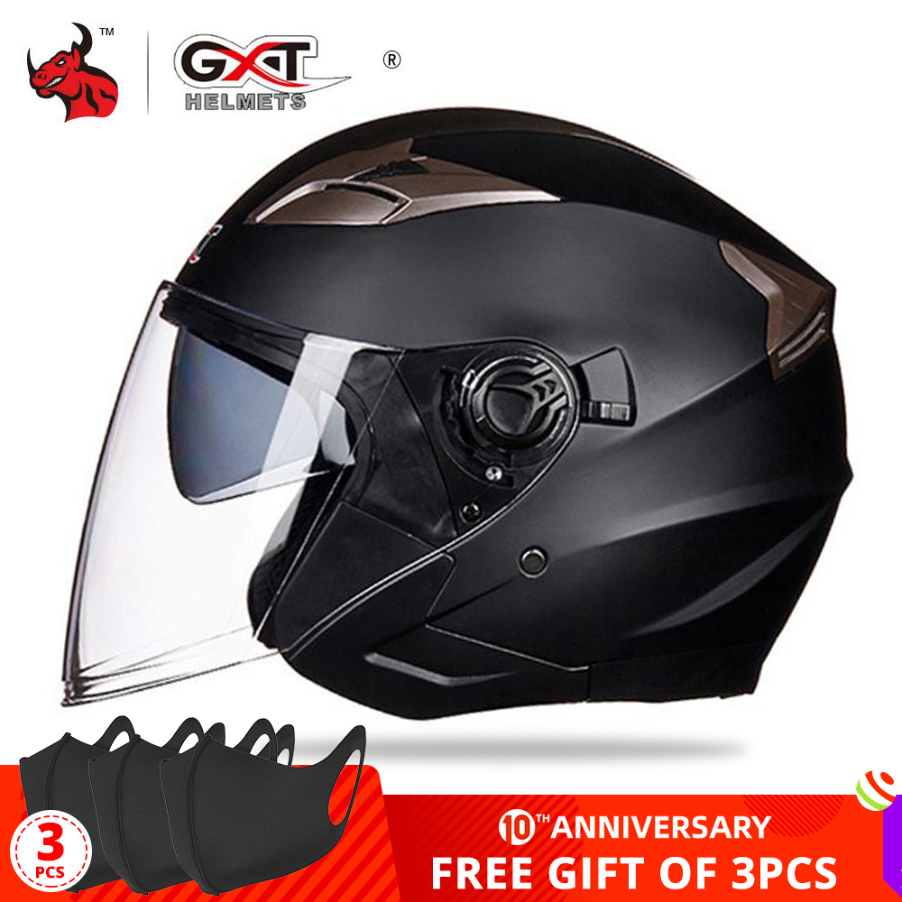 GXT Moto Helmet Visors Electric-Bicycle Open-Face Women Summer Dual-Lens