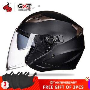 Image 1 - GXT casco de moto cara abierta visores de doble lente casco de motocicleta casco bicicleta eléctrica hombres mujeres verano Scooter moto casco