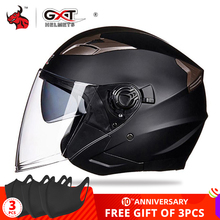 Gxt Motorhelm Open Gezicht Dual Lens Vizieren Moto Helm Elektrische Fiets Helm Mannen Vrouwen Zomer Scooter Motorhelm