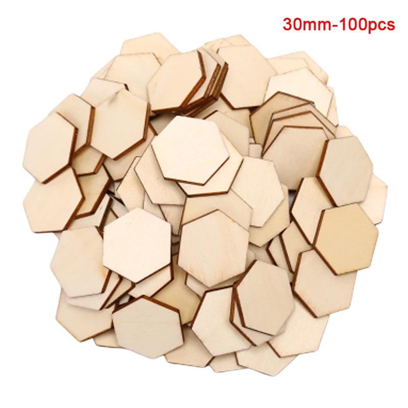 100pcs/lot New Hexagonal Shape Wood DIY Laser Cut Embellishment Craft Decor Ornaments Wedding