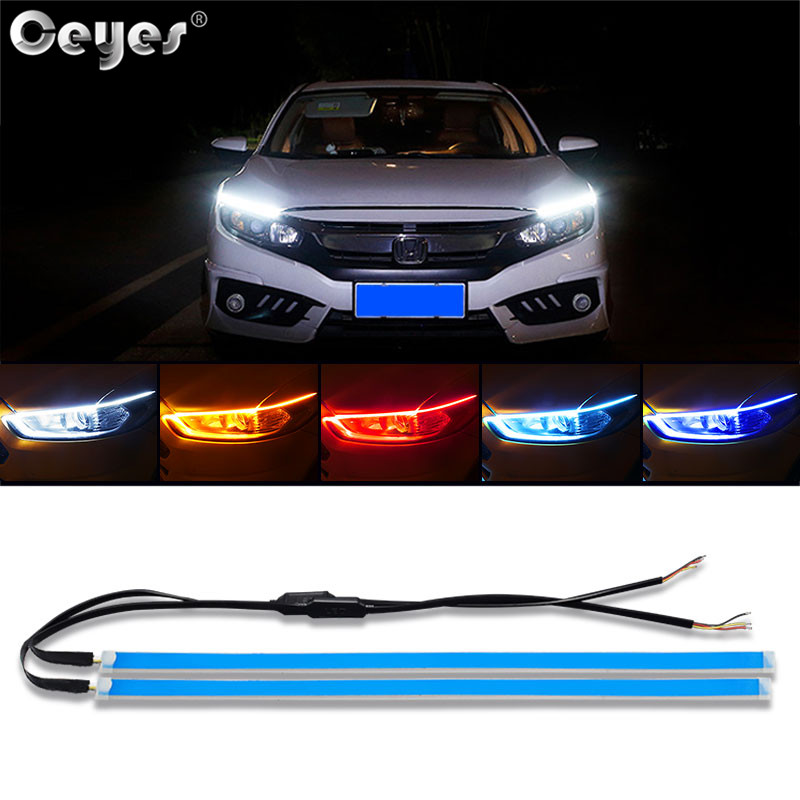 Ceyes Car Styling 12V Day Light <font><b>Led</b></font> DRL Strip Lamp <font><b>Headlight</b></font> Daytime Running Lights Flowing Signal Flexible Universal For Cars image