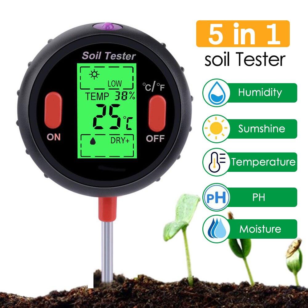 3/4/5in1 цифровой прибор для измерения уровня pH Измеритель влажности уровня PH Температура интенсивность солнечного света тестер влажности бол...