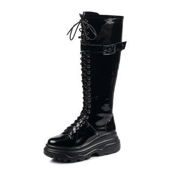 Thick Bottom Cross-tied Patent Leather Flat with Knee-High Motorcycle Boots Round Toe Winter Boots Women Zip Polyurethane Black