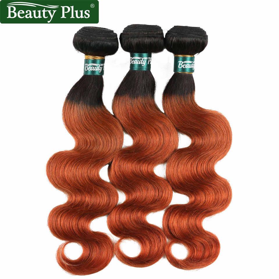 Pomarańczowy wiązki włosów z Frontal Ombre doczepy typu body wave włosów z Frontal 13x4 peruwiański Remy ludzki włos wyplata ciemny korzeń dla dzieci do włosów BP