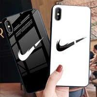 Boîtier en verre trempé de luxe de Mode Marque de Sport Téléphone étui pour iphone 6 6s 7 8plus X XS Xr Xsmax coque de téléphone Couverture Arrière coque