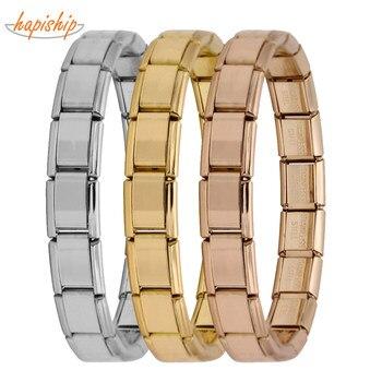 Hapiship 2018 Women's Jewelry 9mm Width Itanlian Elastic Charm Bracelet  Fashion Silver Stainless Steel Bangle ST-Silver