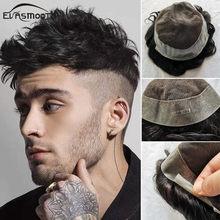 Evasmooth – perruque toupet en cheveux humains vierges pour hommes, postiche en dentelle suisse avec bordures en Pu, densité 120%
