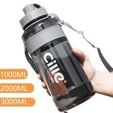 Garrafa de água potável plástica da grande capacidade para a água 1l marca 1000 ml 2000ml esporte com palha bpa livre