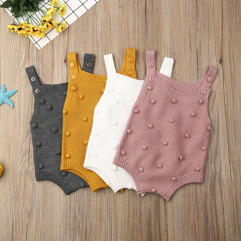 Newborn Baby Knitted Rompers Little Balls Summer Girl ​Sleeveless ​Jumpsuit ​Clothes Ruffle One-piece Romper Outfit  0-18 Months