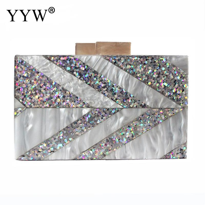 Sequin Hard Pvc Women Box Clutch Bag Luxury Handbags Geometric Arylic Purse Bags Designer Blosa Feminina