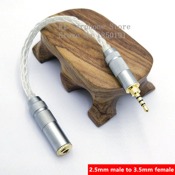 8 Core Silver Audio Cord 2.5 Female to 4.4 Male Cable 2.5mm/4.4mm To 3.5mm Hand-made Balanced Adpter for HIfi MP3 Music Player