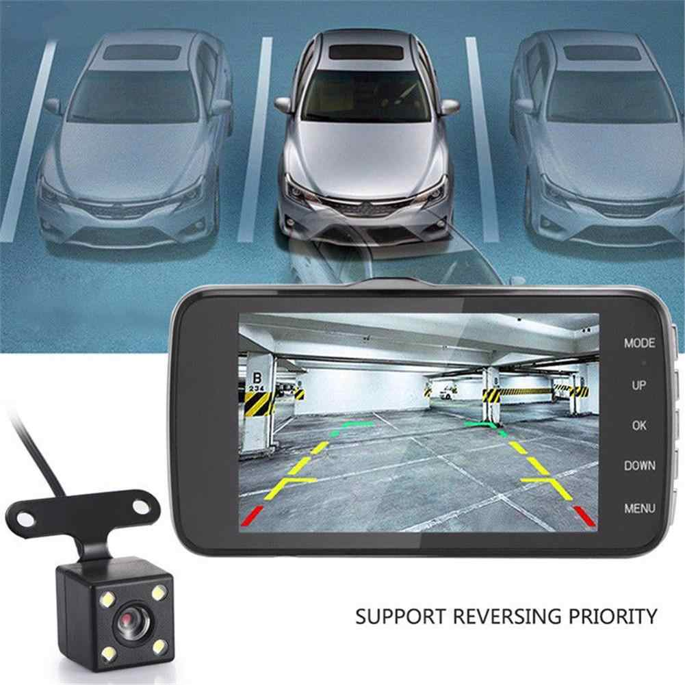 """4 """"ips видеорегистратор с двумя объективами Full HD 1080P Автомобильный видеорегистратор камера для автомобиля фронтальная и задняя камера ночного видения видео регистратор g-сенсор режим парковки"""