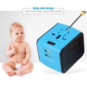 Image 4 - LONGET Universal Travel Adapter Auto Zurücksetzen Sicherung baby sicher design 2 USB Weltweit Wand Ladegerät für UK/EU/AU/Asien