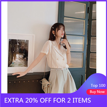 MiShow 2019 summer women casual turn-down collar OL style short sleeves double breasted sloose fit o