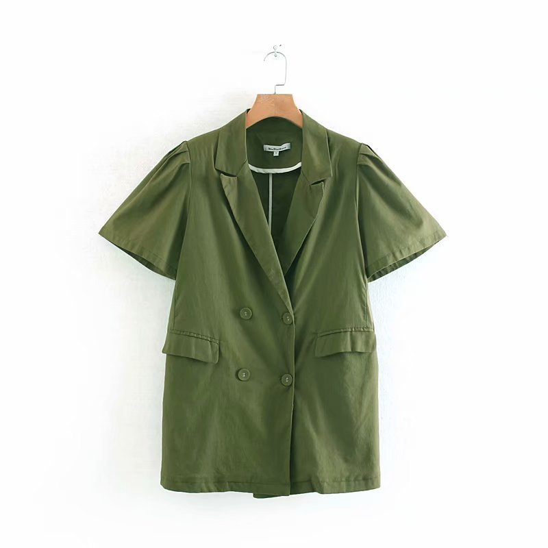 Wenwenjia 68-9118 European and American fashionable double-breasted foam sleeve suit