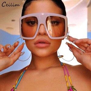 2020 Newest Design Big Frame Oversized Sunglasses Women Luxury Brand Large Flat Top Sun Glasses Trendy Square Gradient Shades