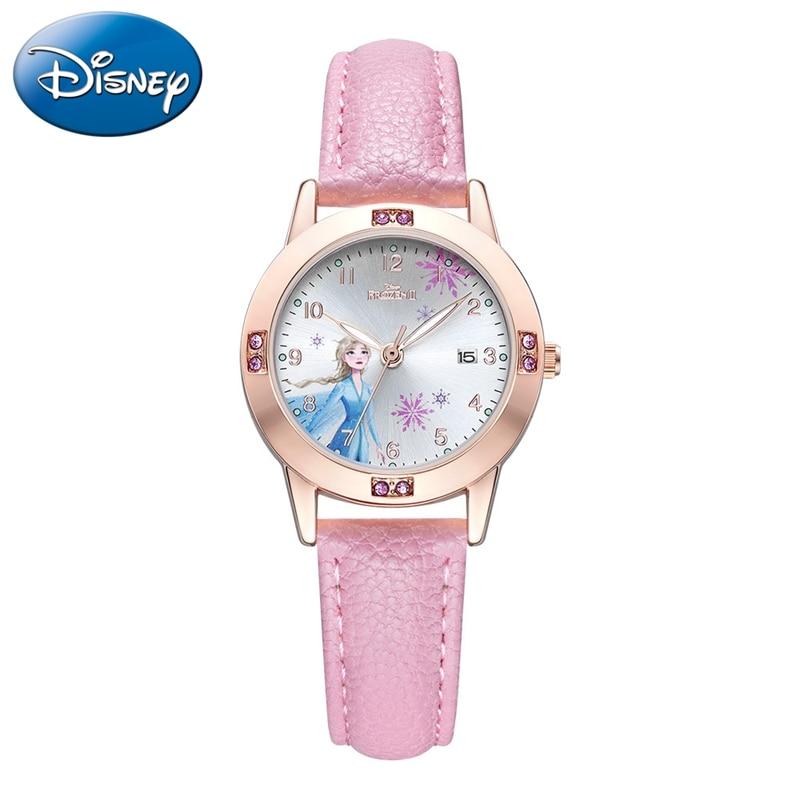 Frozen Ⅱ Elsa Princess Calendar Luxury Bling Crystal Jewelry Disney Cuties Girl Watches Child Watch Student Kids Clock Soft PU