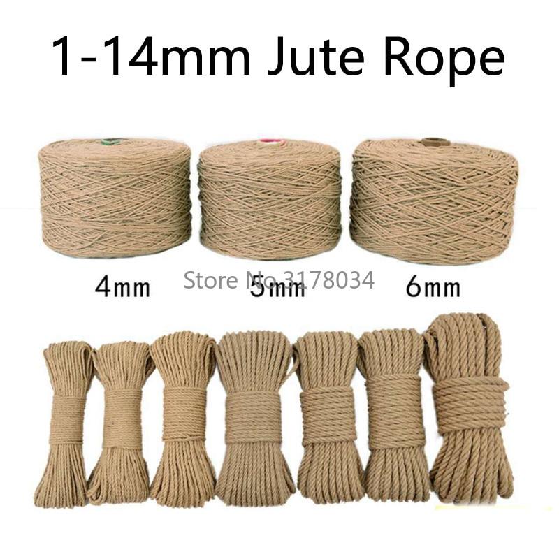 Натуральная джутовая тканевая веревка в рулонах, витая веревка из пеньки, шнур макраме, рукоделие корзина, ремесло, Когтеточка для кошек, ук...