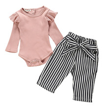 Get more info on the Autumn Baby Girl Boy Clothes Newborn Sets Outfit Pink Long Short Romper Bodysuit Stripe Long Pants 2Piece kit Top Dropshipping