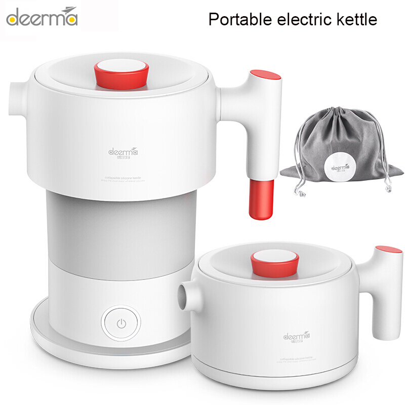 Deerma Portable Electric Kettle Kitchen Appliances Electric Kettle Boil Water Travel Foldable 0.6L Coffee Teapot