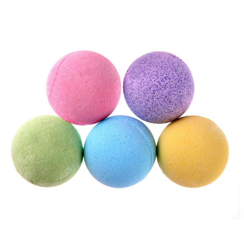 5pcs Bath Salt Ball Body Skin Whitening Ease Relax Stress Relief Natural Bubble Shower Bombs Ball Body Cleaner Essential Oil Spa