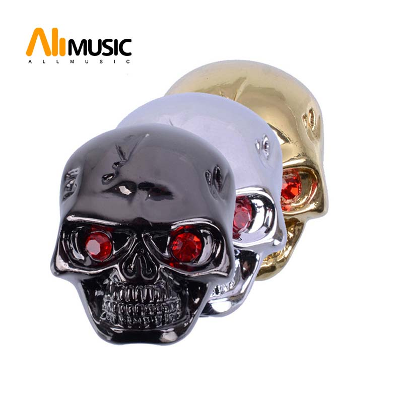 Shining Metal Skull Head Control Knobs for Electric Guitar Pots Tone Volume Control Knobs/Buttons Black/Chrome/Gold