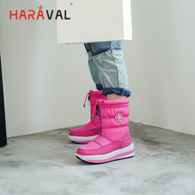 HARAVAL Winter Woman Luxury Ankle Boots Quality Cotton Fabric Round Toe Thick Heel Shoes Fashion Solid Lace-up Basic Snow