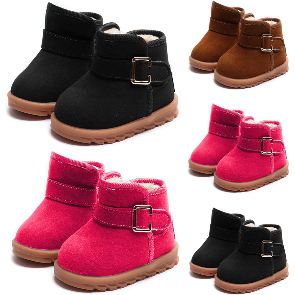 Plus velvet Girls Snow Boots Hook Loop Kids Warm Boots For Girl 2-6 Ages Winter Kids Girls Shoes Non-slip Rubber sole D30