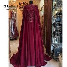 Женское мусульманское вечернее платье с лямкой на шее, шифоновое платье с длинными рукавами и аппликацией, OL103440, 2019