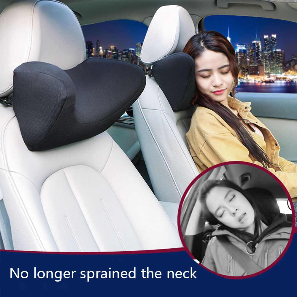 新しい車のヘッドレスト首枕シート椅子自動低反発綿メッシュクッション生地カバーソフトヘッドチェアレストトラベルオフィスサポート