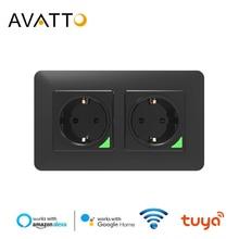 AVATTO Wifi Double EU Standard Socket,Tuya Smart life APP Voice Remote Control 16A Wifi Power Plug Works With Google Home Alexa
