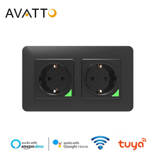AVATTO enchufe estándar europeo doble Wifi, Control remoto por voz, aplicación Smart life, 16A, Wifi, funciona con Google Home, Alexa
