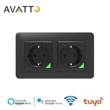 Avatto soquete padrão da ue dupla wifi, controle remoto smart life app, controle remoto de voz 16a wifi funciona com o google home alexa