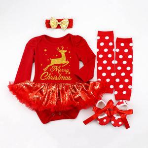 Image 4 - 2020 عيد الميلاد الطفل ازياء رومبير فستان سانتا كلوز تأثيري ملابس الحفلات Bebes بذلة الوليد الطفل الفتيات الملابس