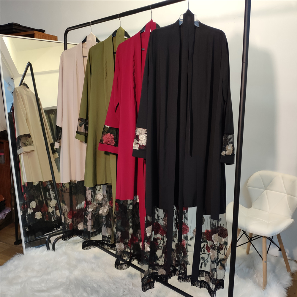 Muslim Mubarak Eid Abayas for Women 2020 Fashion Mesh Gold thread Embroidery Kimono Abaya Dubai Turkey Arabic Islamic Clothing