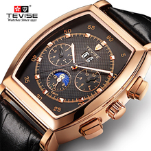 TEVISE Mens Watches Fashion Men Automatic Mechanical Watch Leather Strap Moon phase Tourbillon Sport Clock Relogio Masculino tevise fashion mens watches moon phase tourbillon mechanical watch men leather sport wristwatch male clock relogio masculino