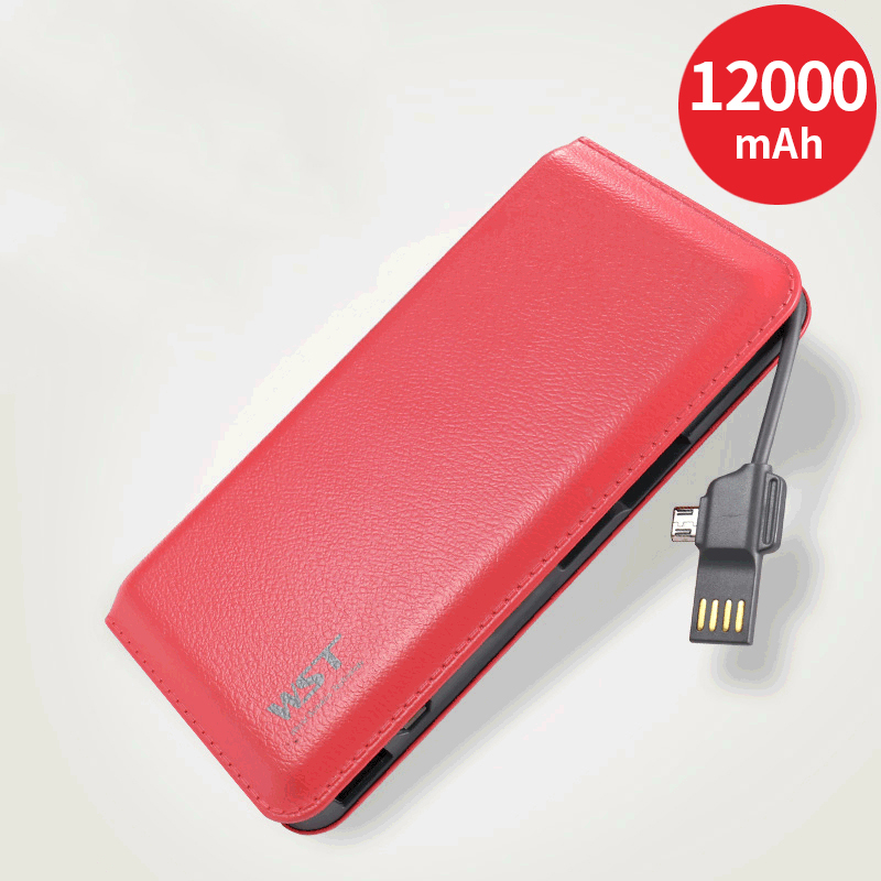 Power Bank <font><b>12000mAh</b></font> Portable Charging PowerBank 12000 mAh PoverBank with Cable External Battery Charger For Xiaomi iPhone Tablet image