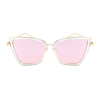 2019 New Brand Designer Cateye Sunglasses Women Vintage Metal Glasses For Women Mirror Retro Lunette De Soleil Femme UV400 - C3