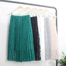 Mooirue Vintage Lace Patchwork Pleated Skirts Women Autumn Winter Casual Streetwear High Waist Elastic Solid Harajuku Maxi Skirt