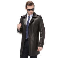 big Size 8XL Luxurious Autumn And Winter Men's Genuine Leather Jacket For Men Fashion Black Male Long Section Sheepskin Jacket