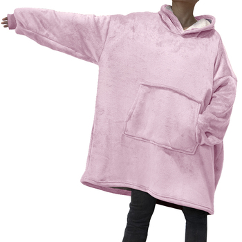 Winter Oversized Hoodies Women Fleece Warm TV Blanket with Sleeves Pocket Flannel Plush Thick Sherpa Giant Hoody Long Sweatshirt 1