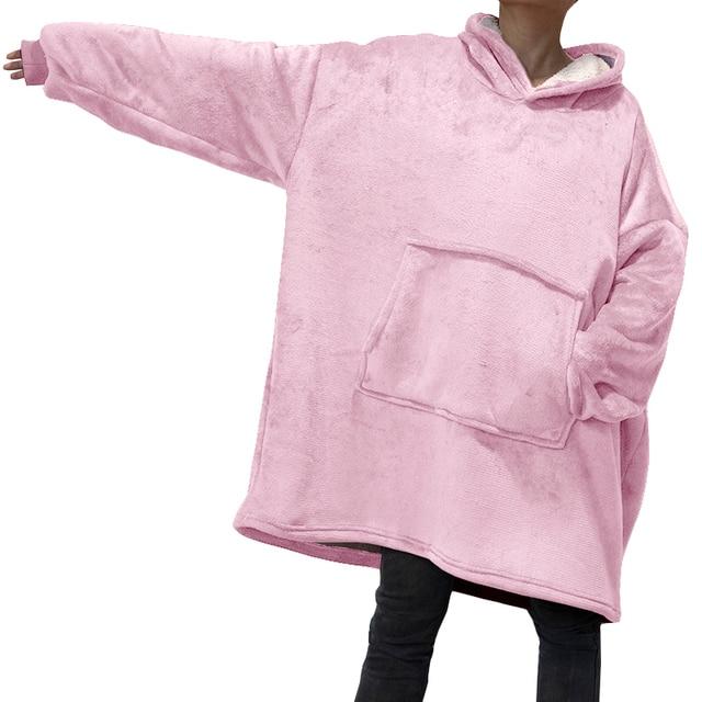 Winter Oversized Hoodies Women Fleece Warm TV Blanket with Sleeves Pocket Flannel Plush Thick Sherpa Giant Hoody Long Sweatshirt 1