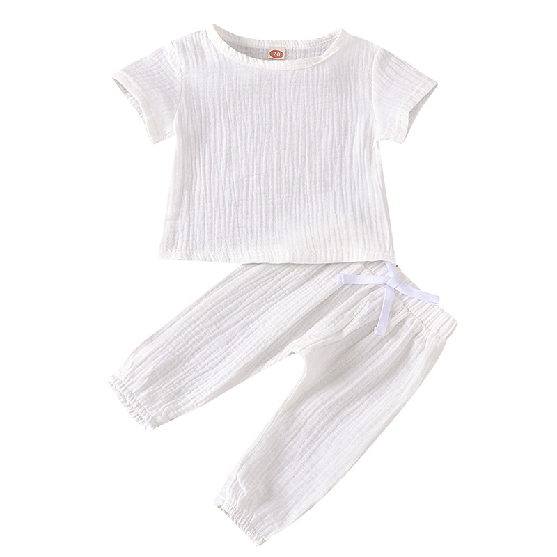 Infant Baby Boys Girls Clothes Pure Color Cotton Linen Short Sleeve Tops+Pants Summer Toddler Baby Boys Girls Clothing Outfit 2