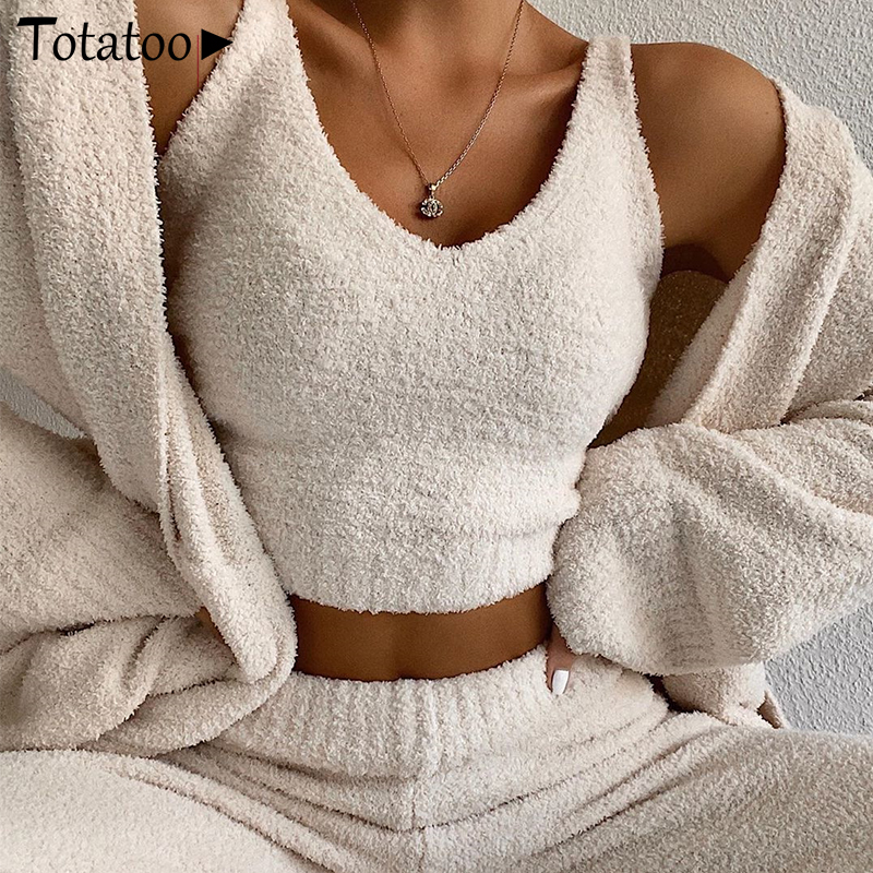 Totatoop Summer Autumn Sexy 2 Piece Set Women Knitted Crop Tops And Wide Leg Pants Suit Streetwear Casual Outfit Suits